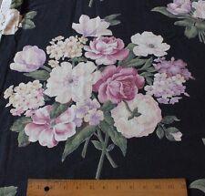 Old Vintage Barkcloth Era Rose Bouquet Printed Cotton Fabric Panel  c1940s