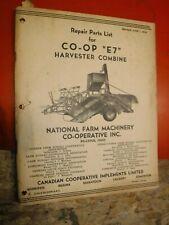 CO-OP E7 HARVESTER COMBINE FACTORY PARTS LIST CATALOG NATIONAL FARM MACHINERY