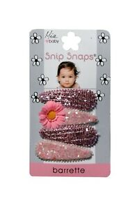 Mia Baby + Girl Snip Snaps, Sequins and Glitter Material with Daisy attached 4pc
