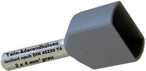 Twin Wire Ferrules 2 X 4 MM ² Grey Wire End Ferrules Double Tinned