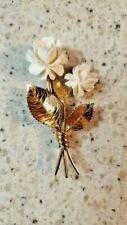 Brooch-White Roses Gold Filled Flower