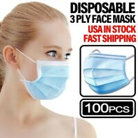 100PCS Face Mask Non Medical Surgical Disposable 3-PLY Earloop Mouth Cover