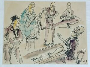 Dutch Artist Hans Bendix Original Drawing with Water Colors Dated 1932 Signed
