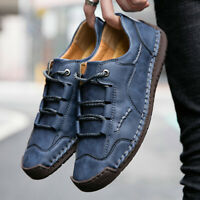 Men's Leather Casual Tooling Shoes Hand Stitching Loafers Slip on Moccasins