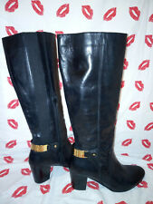 Next Black Leather Boots with Gold Metal Band Detailing Size Uk 6
