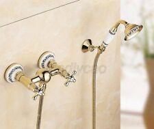 Gold Color Brass Wall Mount Bathroom Shower Faucet Set Handheld Sprayer Ktf405