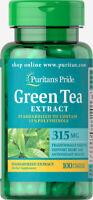 Puritan's Pride Green Tea Standardized Extract 315 mg-100 Capsules (free ship)