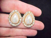 Vintage Gold Tone 1980's Pear Shaped Pierced Rhinestone Faux Pearl Earrings