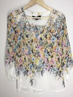 EUC Alice Blue Women's Blouse Small V-Neck Top Shirt Floral Sheer Tunic