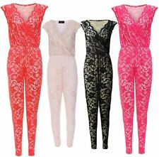 Womens All-In-One Playsuit Ladies One Piece Floral Lace Party Jumpsuit Dress8-14