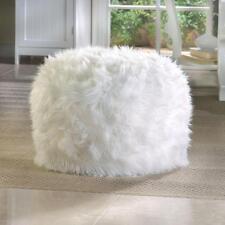 WHITE fuzzy furry bean bag seat bedroom dorm floor pillow chair ottoman POUF