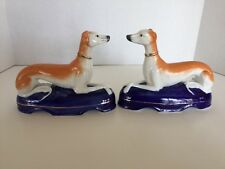 Pair of Antique English Staffordshire Whippet Greyhound Dogs With Gold Gilt Trim