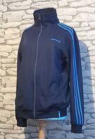 Adidas Originals track jacket pinstripes size Large blue retro vintage style