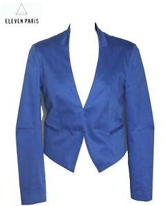 ELEVEN PARIS - Veste chic Eden tailleur asymétrique coton bleu électrique 38 FR