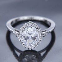2.00 Ct Oval Shape Diamond Real 10k White Gold Halo Engagement Ring Size 6.75