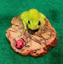 Miniature Dollhouse Fairy Garden Frog with Ladybug on Drift Wood