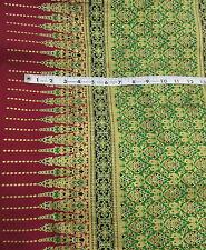 Border print Batik fabric B.P. Paradise cotton burgundy green blue metallic gold