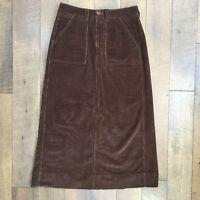 COVINGTON Sz 8 Brown Stretch Corduroy Skirt Modest Comfortable Women's Size 8