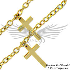 """Ladies Cross Accented Gold Plated No Stone 7.5""""+1.5"""" Chain Bracelet STB1119"""