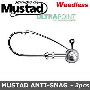 Weedless Jig heads Mustad ANTI-SNAG 1/0 - 6/0 3g -15g Predator Tackle Pike lures