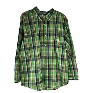 Chaps Mens Shirt Size XL Button Front Green Plaid Easy Care