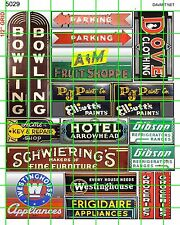 5029 DAVE'S DECALS ASSORTED BUSINESS SIGNS BOWLING PAINT HOTEL GROCERIES MARKET