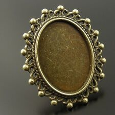 8PCS Adjustable Vintage Bronze Alloy Tray Cameo Setting Ring Base 25*18mm 37019