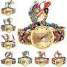 Fashion Women Ladies Weave Gold Quartz Dress Dreamcatcher Bracelet Wrist Watches