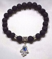 Pulsera de piedra de lava Negro Hamsa Mal de Ojo Amuleto Kabbalah Mano de Fatima Judaica