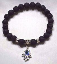 Hamsa Black Lava Stone Bracelet Evil Eye Charm Kabbalah Hand Of Fatima Judaica