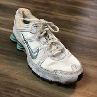 Women's RARE Nike Shox NZ Running Shoes Sneakers Size 10 White Blue Winter S9