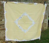Vintage French Stunning Handmade Pale Lemon Linen Tape Lace Tablecloth
