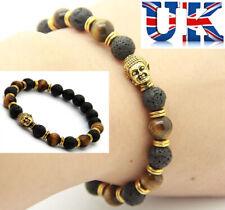 Womens Matt Black Lava Stone & Glossy Brown Stone Bead Bracelet**UK Seller**