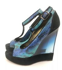 LANVIN BLUE PYTHON & BLACK SUEDE LEATHER with LUCITE PLATFORM WEDGE MSRP $1980