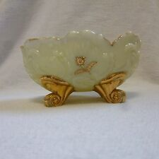 Argenaut Shell Custard Gold Decorated Footed Candy Dish