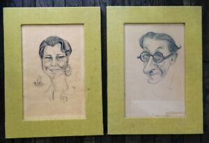 Wolo 2 Signed Pencil Caricatures Unknown Man & Woman 1935 Framed