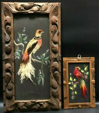 Vintage Pair of Tropical Bird Pictures Made W/ Feathers & Hand Carved Frames
