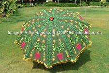 """Green Fine Art Embroidered Garden Umbrella Indian Sun Shade Patio Parasol 72"""""""