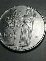REPUBBLICA ITALIANA - RARA MONETA DA 100 LIRE - 1956 - FRATTURA DI CONIO - n153