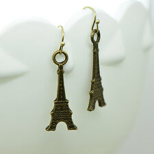 Eiffel Tower Earrings, Antique Bronze Finish Vintage Style Charm Pendant Earring