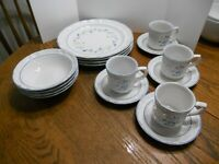 Floral Expressions Stoneware Service for 4 Dinnerware  Laurel Pattern Never  Use