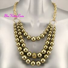 Olive Green 3 Row Layered Pearl Statement Feature Necklace W/ Swarovski Crystals