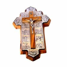 Olive Wood Crucifix - Icon Showing 14 Stations of The Cross Etched on Metal