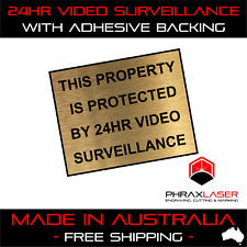 24HR VIDEO SURVEILLANCE  - GOLD SIGN - LABEL - PLAQUE w/ Adhesive 50mmx40mm
