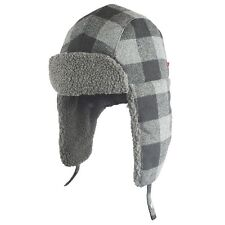 88a95b1a95b NWT Mens Levis wool blend Black Grey Winter Plaid Trapper Hat S M Small