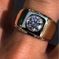 Men's Engagement Ring Solitaire 2 Ct Round VVS1 Diamond Bezel Set 14K White Gold