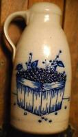 "Vintage 1990 SALMON FALLS ""BLUEBERRY"" Gray Stoneware Pottery Jug Dover NH 9 1/8"""