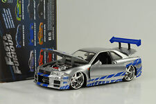 2002 brian's Nissan Skyline GT-R r34 fast and & Furious plata azul 1:24 jada