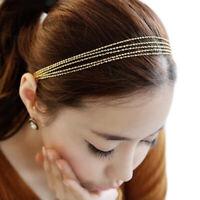 Cy_ KF_ Multilayer Metallic Chain Elastic Band Hair Band Headband Women Hoop Hea