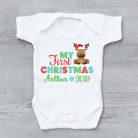 Personalised My First 1st Christmas Xmas Rudolph Year Unisex Baby Grow Bodysuit